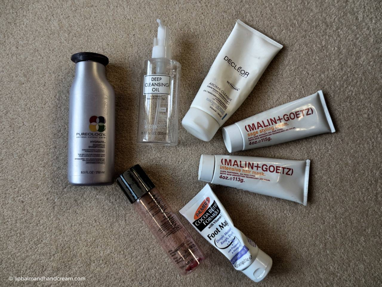 December empties from Pureology, DHC, Decleor, Malin + Goetz, Palmer's and Mary Kay