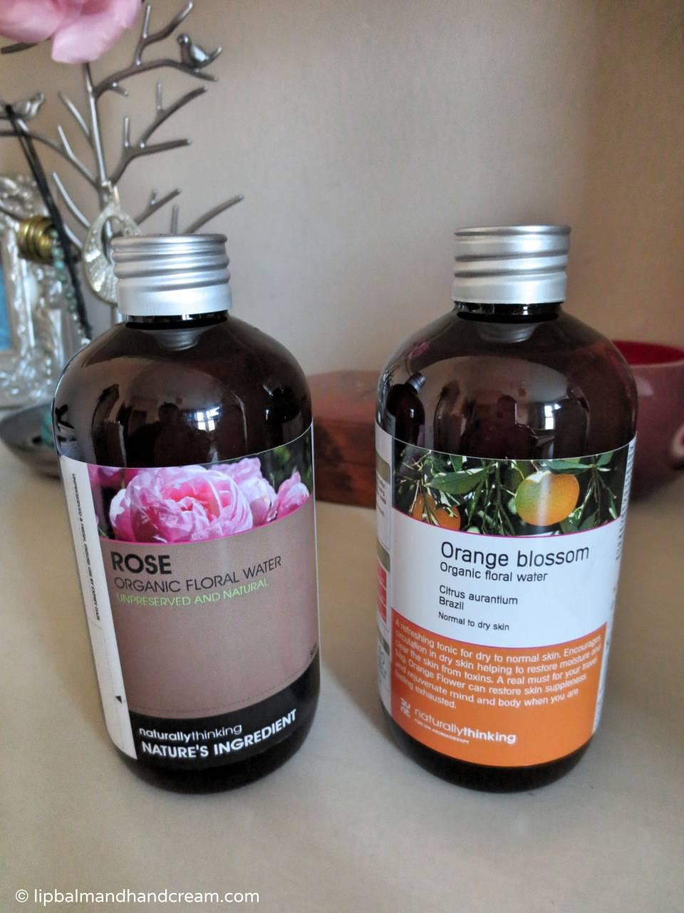 Natural toner made of rose and orange floral waters