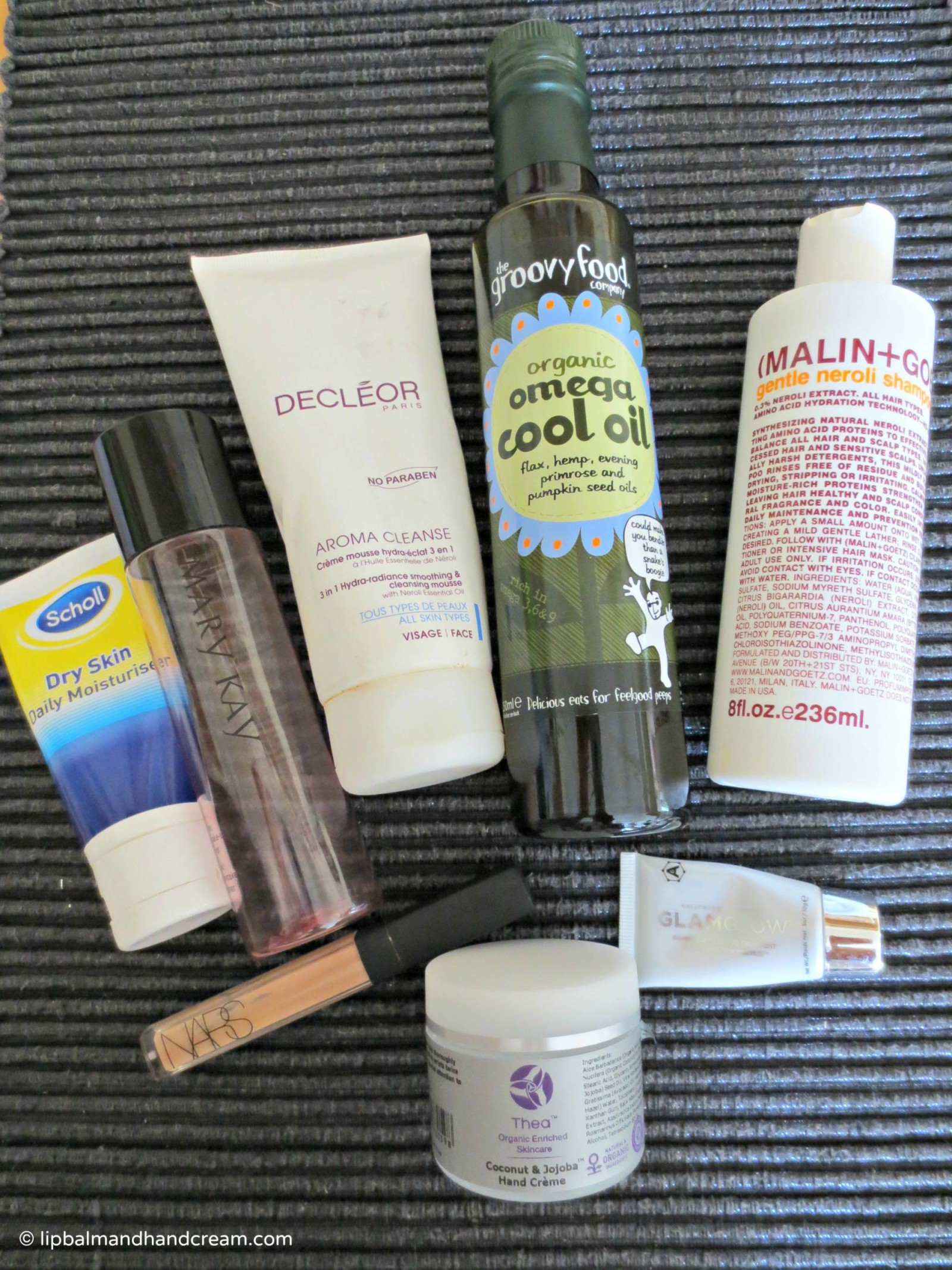 June's empties are from NARS, Scholl, Mary Kay, Decléor, Groovy food, Malin + Goetz, Glamglow, and Thea